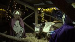 Christian nativity scene from simple fabric 4K Stock Footage