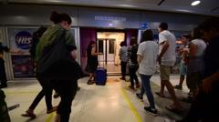 BTS Airport Rail Link to the Suvarnabhumi International Airport in BKK city - stock footage