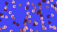 4k Alphabet abc cartoon letter character words,education learn data password. - stock footage