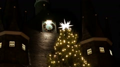 4k Christmas fair Wernigerode village mountain range Harz Stock Footage