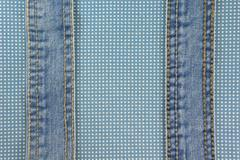 Jeans with stitch on blue dot cloth texture and background - stock photo