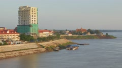 Stock Video Footage of Riverfront buildings ,Kampong Cham,Cambodia
