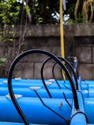 Rubber tube on pvc pipe at hydroponics agriculture farm Stock Photos