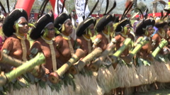 August 15 2015 Group women in traditional aboriginal native costumes sing dan Stock Footage