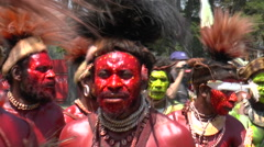 August 15 2015 close up on Papuans men in native costume Stock Footage