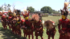 Stock Video Footage of August 15 2015 line of men in aboriginal native costumes dance