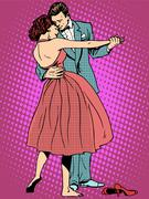 Wedding dance lovers man and woman Stock Illustration