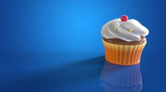 Stock Video Footage of Cupcake blue background