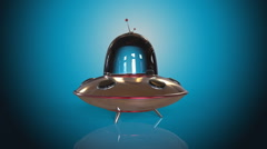 Flying saucer blue background - stock footage