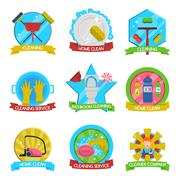 Cleaning Emblems Set - stock illustration