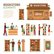 Flat Bookstore Elements Images Set - stock illustration