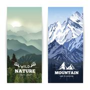 Vertical Mountains Banners - stock illustration