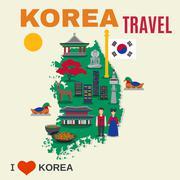 Korean Culture Symbols Map Travel Poster - stock illustration