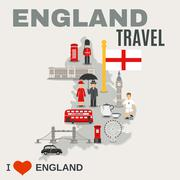 England Culture For Travelers Poster - stock illustration
