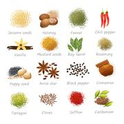 Icons Set Of Spices Stock Illustration