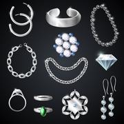 Jewelry Silver Set - stock illustration