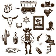 Stock Illustration of Cowboy Black White Icons Set