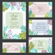 Cactus Wedding Cards Set - stock illustration