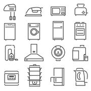 House Appliances Black White Icons Set Stock Illustration