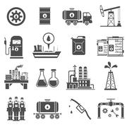 Oil Black White Icons Set - stock illustration