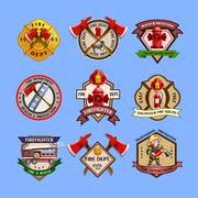 Firefighters Emblems Labels Collection Stock Illustration
