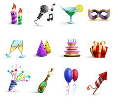 Stock Illustration of Celebration Colorful Cartoon Style  Icons Set