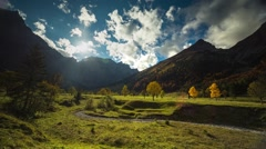 autumn mountains trees time lapse sunset - stock footage