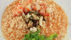 Stock Video Footage of Plate of risotto with seafood