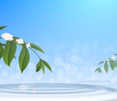 Green leafs and water drop on blue sky background - stock illustration