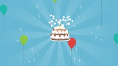 Sweet birthday cake, balloons fly up, cake with strawberries, Stock Footage
