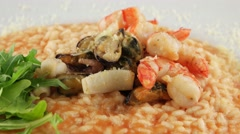 Plate of risotto with seafood - stock footage