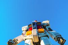 Stock Photo of Full size Gundam Performances Outside DiverCity Tokyo Plaza, Odaiba, Tokyo, J