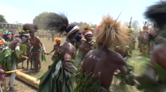 August 15 2015aboriginal native men cary tree log Stock Footage