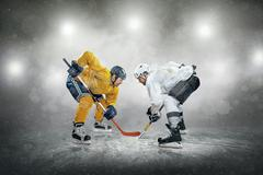 Ice hockey player on the ice, outdoors Stock Photos