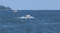 Boats on the lake on hot summer day in Barrie Canada Stock Footage
