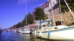 Yachts and people on danish canals Stock Footage