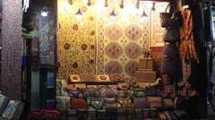 Illuminated showcase gift shop - stock footage