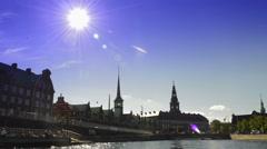 Copenhagen Stock Exchange and Parliament Stock Footage