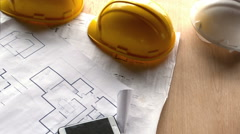Overview of architect desk Stock Footage