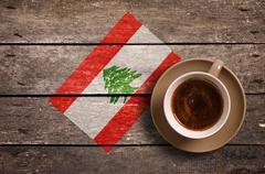 Lebanon flag with coffee - stock photo
