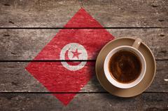 Tunisia flag with coffee - stock photo