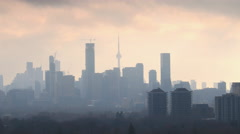 Toronto Downtown Landmarks Time Lapse in Fog and Clouds Stock Footage