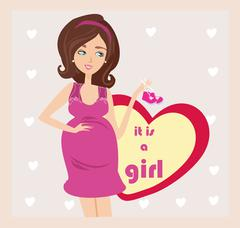 Stock Illustration of It's A Girl! - pregnant woman card