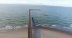 Aerial Footage. Baltic Sea bridge. Palanga Stock Footage