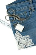 Shorts jeans diy with lace decorated isolated on white background - stock photo