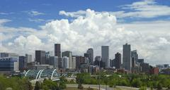 Denver Skyline and Thunderstorm Stock Photos