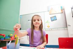 Art class in kindergarten - stock photo