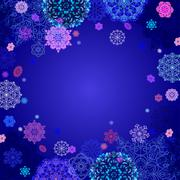 Winter design with pink and blue snowflakes on dark background. Stock Illustration