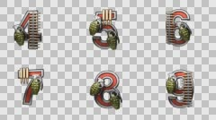 loop alpha matted military alphabet set rendered in PNG with alpha channel - stock footage