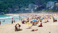 Timelapse View of People at Ipanema Beach in Rio de Janeiro, Brazil - stock footage